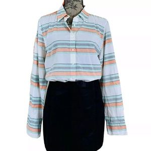 J Crew Striped Popover Tunic Top Long Sleeve